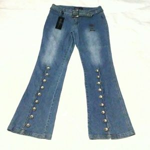 Y2k belted flare jeans